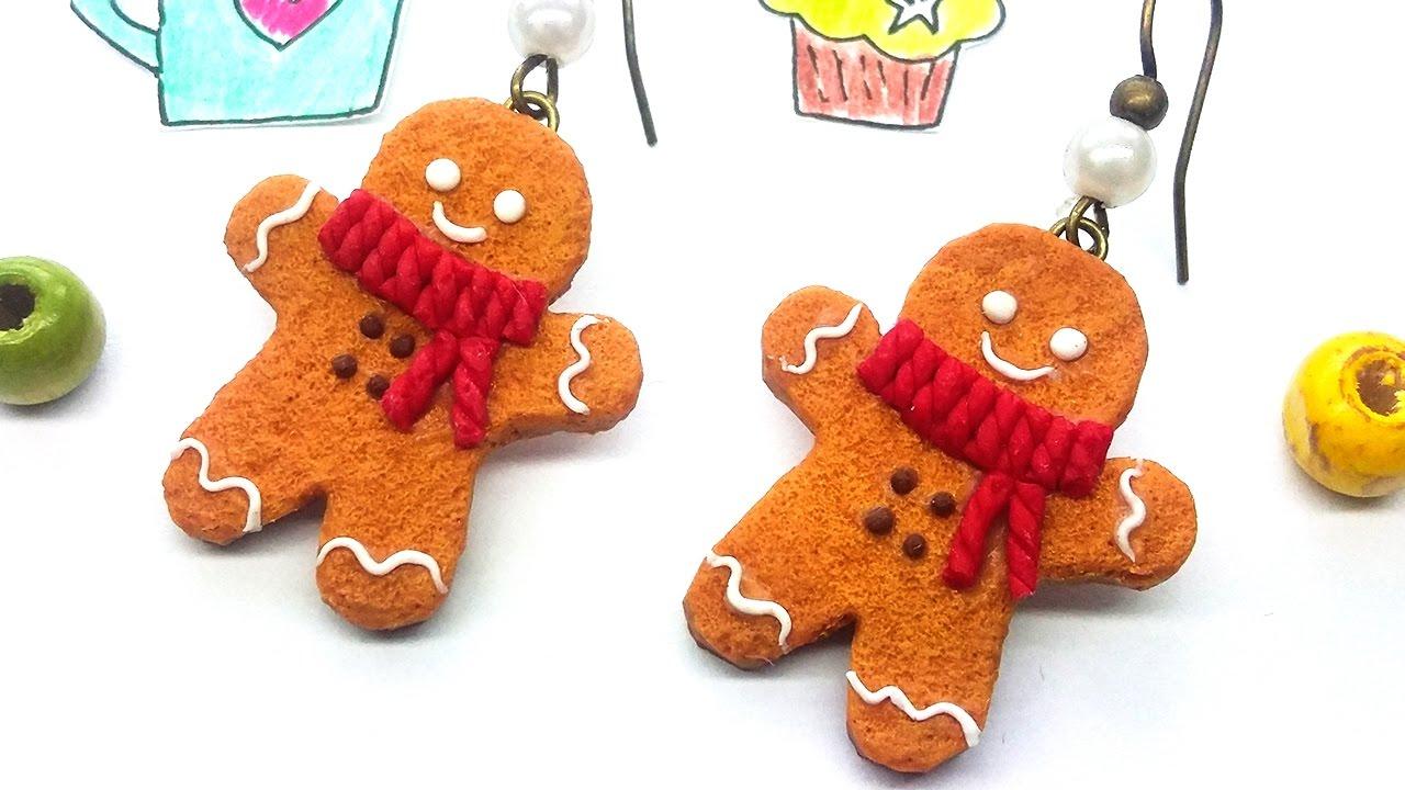 Polymer Clay Christmas Earrings.Diy Christmas Earrings Gingerbread Man Easy Jewelry Polymer Clay Tutorial