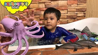 Bathtub time with Animal Planet Big Tub of Ocean Creatures - Octopus, Sharks, Whales