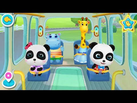 ❤ Little Panda School Bus | Go Shopping, Costume Show, Play Toys | BabyBus Game