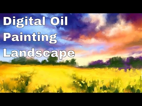 "Digital oil painting landscape ""Yellow field"""