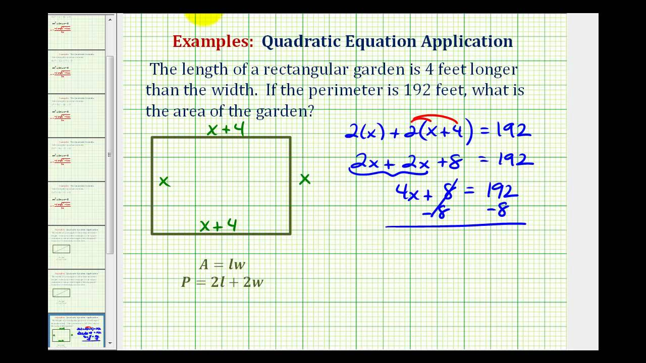 Ex find the area of a rectangle given the perimeter youtube ex find the area of a rectangle given the perimeter ccuart Gallery