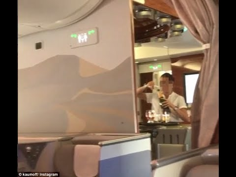 Shocking video: Emirates flight attendant caught pouring champagne back into bottle