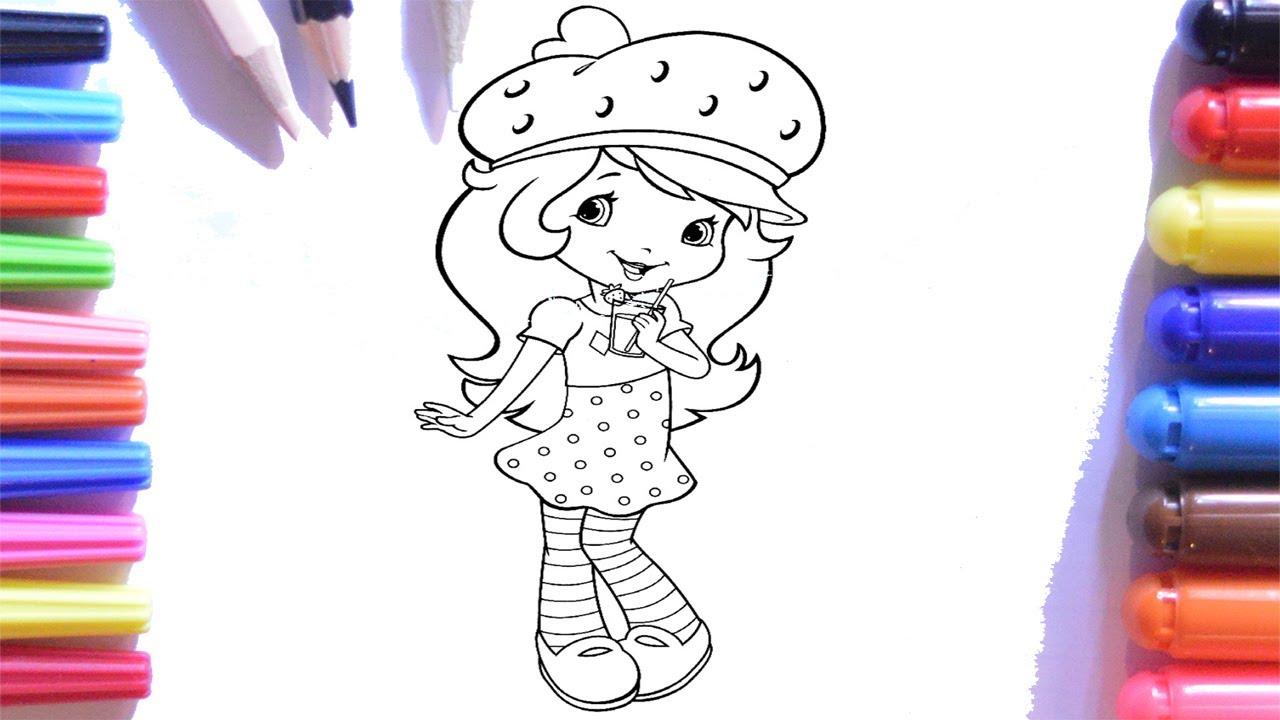 çilek Kız Boyama Sayfası Keçeli Kalem çilek Kız Boyama çocuklar Için