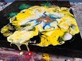 Acrylic Pour Painting: Big Bold Flower With Black Background