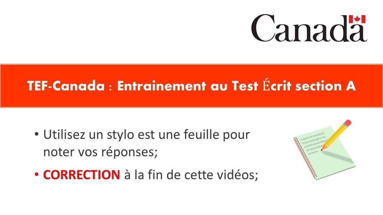 TEF-CANADA : Préparation 1 au Test de Compréhension Écrite section A