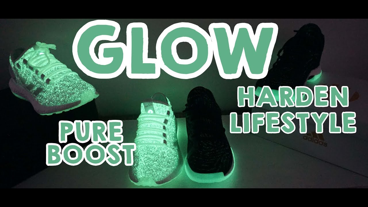 150572936aa0a2 Adidas Harden Lifestyle VS Pureboost Jellyfish    GLOW in the dark sneakers