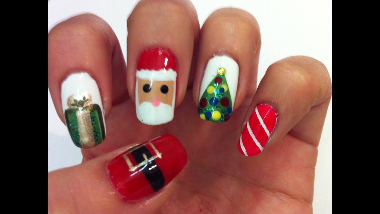 Dise o de u as para navidad christmas nail art tutorial for Decoracion de unas para navidad