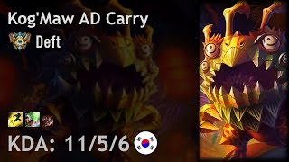 Kog'Maw AD Carry vs Caitlyn - Deft - KR Challenger Patch 6.24