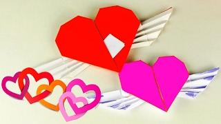 ОРИГАМИ ИЗ БУМАГИ   ЛЕТАЮЩЕЕ СЕРДЦЕ С ЗАПИСКОЙ   Поделки из бумаги для детей + ИГРА)