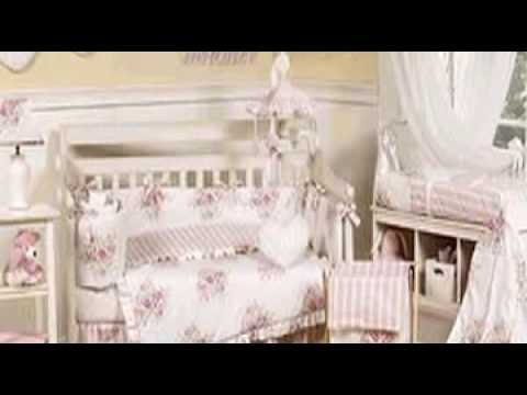 Pink And White Shabby Chic Floral Baby Girl Crib Bedding Set