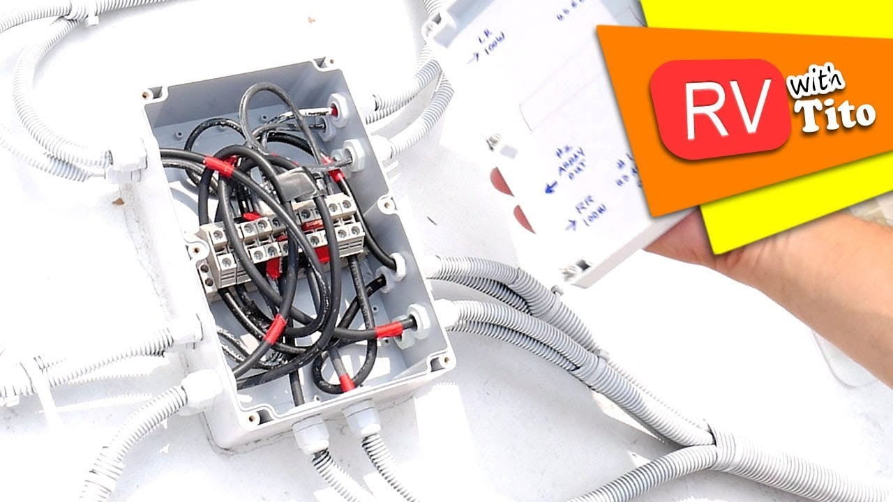 diy solar combiner box on rv roof how to [ 1280 x 720 Pixel ]