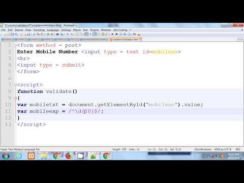 Mobile Number Validation Using Javascript  |  Hindi