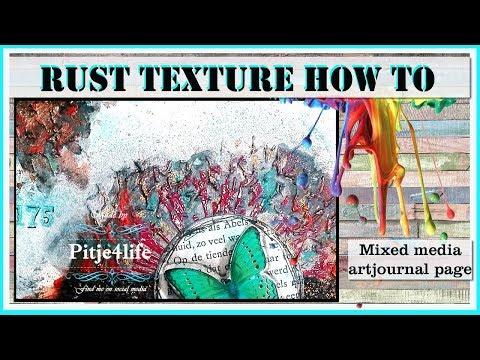 RUSTY TEXTURE tutorial, mixed media grunge art journal page