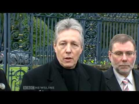 Peter Robinson speaking at Hillsborough Castle