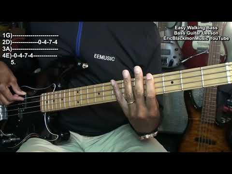 The Easiest 12 Bar Blues Walking Bass Lesson EVER EricBlackmonGuitar Electric Bass Guitar