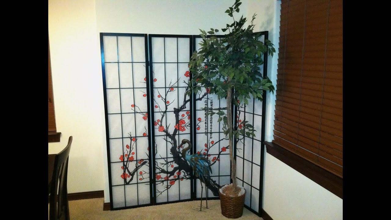 Cherry Blossom Asian Themed Room DividerScreen 4 Panels