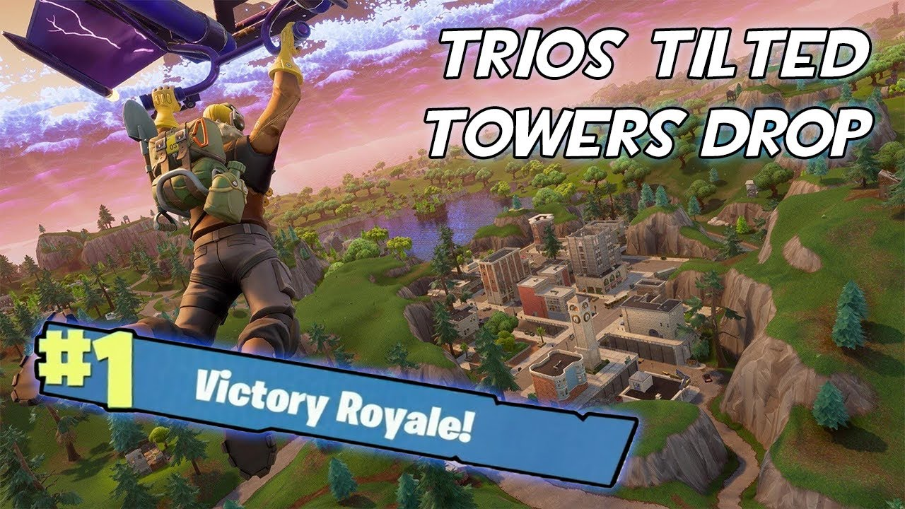 Fortnite - Trios, Tilted Towers drop Victory Royale, 23 kills