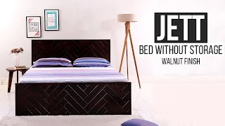 Bed Without Storage: Buy Jett Bed Without Storage (Walnut Finish) Online from Wooden Street