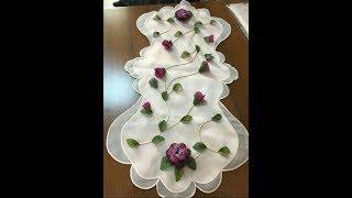 İğne Oyası Çiçek motifli oda takımı, masa örtüleri & Crochet