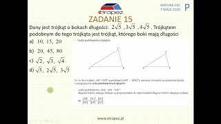 [Zadanie 15] Matura z matematyki poziom podstawowy. Maj 2018.
