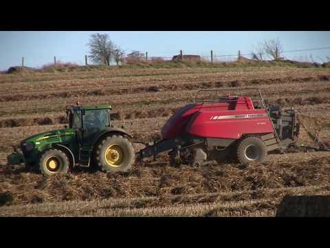 Baling Straw February 2018 John Deere 7820 MF 2190 Big Baler
