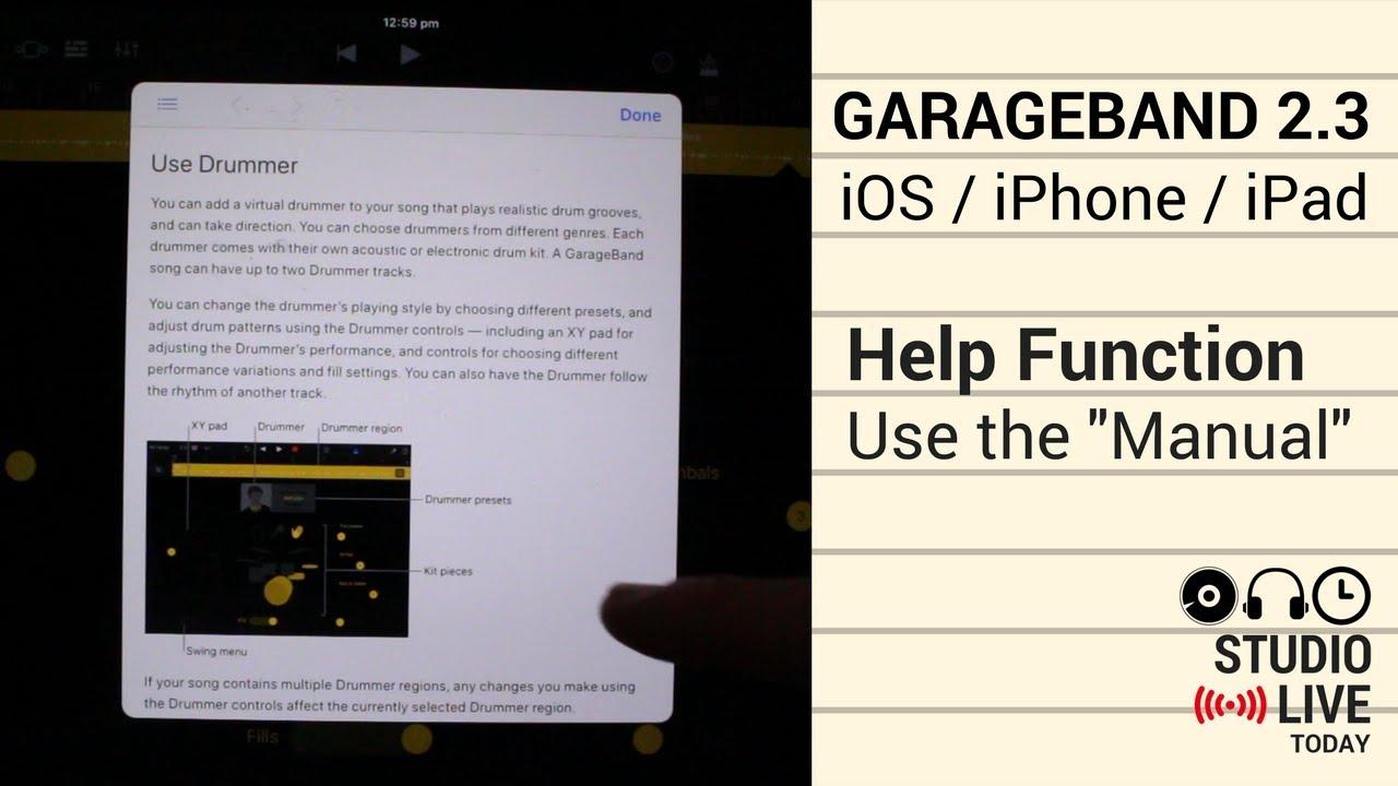 garageband help in ios iphone ipad using the help function in rh youtube com garageband ios 2.2 manual Is There a GarageBand for Windows