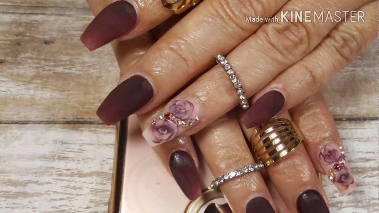Uñas acrílicas color Burgundy con Rosa en 3d - YouTube