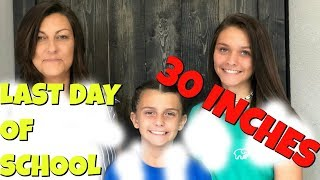Last Day Of School PARTY! HAIRCUT Over 30 Inches Off? | Emma and Ellie