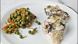 Рыба в сметане. Гарнир из зелёного горошка