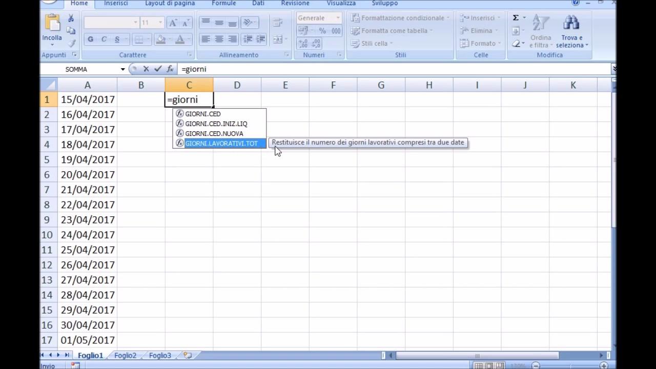 Calcolo Giorni Calendario.La Funzione Giorni Lavorativi Di Excel