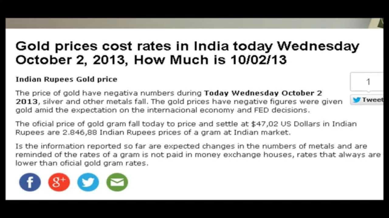 Gold Prices Today In India Indian Rus Wednesday October 2 2017