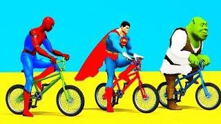 SUPERHEROS BMX CYCLES w FUN Cars Learn Colors for Children and Kids Spiderman Cartoon