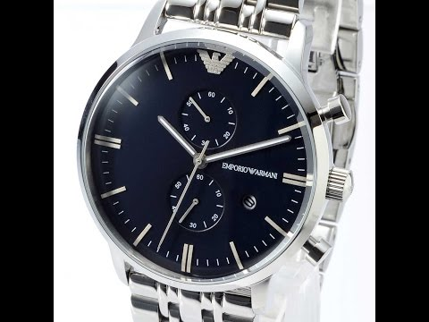 8b50f740023 EMPORIO ARMANI AR5860 MENS WATCH CLASSIC SILVER BLUE STAINLESS STEEL REVIEW  アルマーニ ブルー レビュー メンズ 腕時計