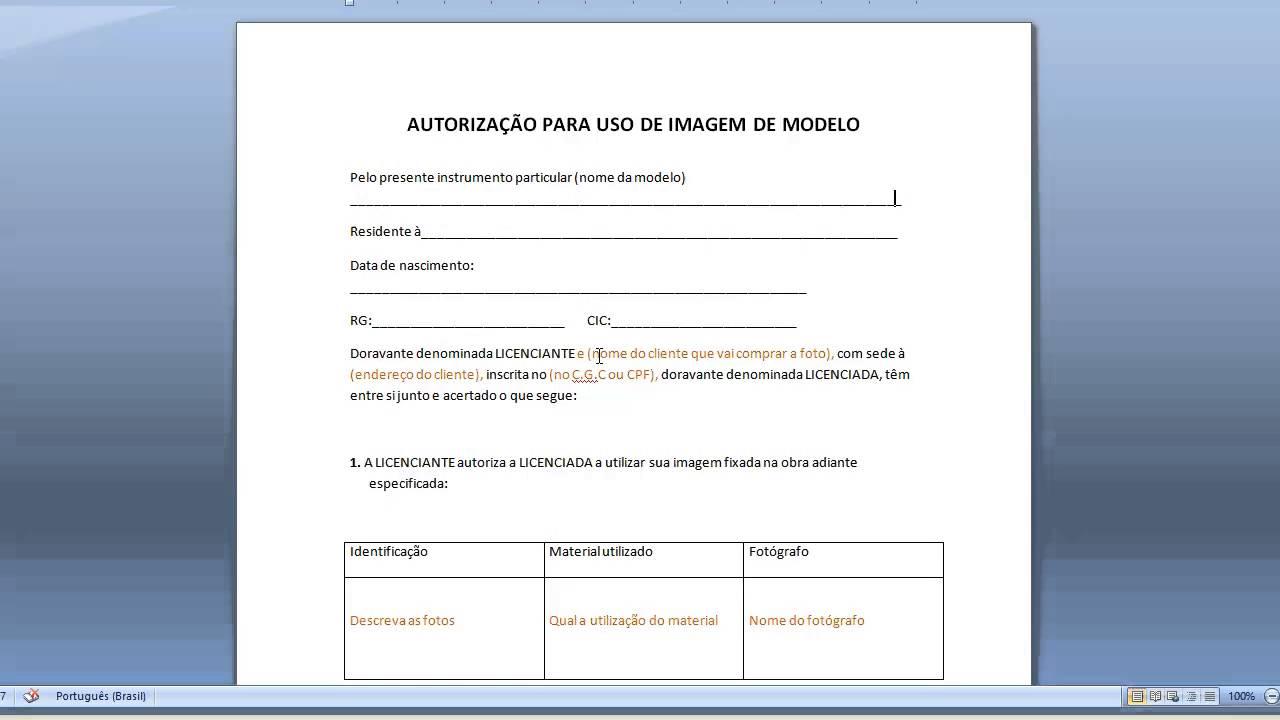 Download Grátis Modelo De Autorização Para Uso De Imagem De Modelo Para Empresa