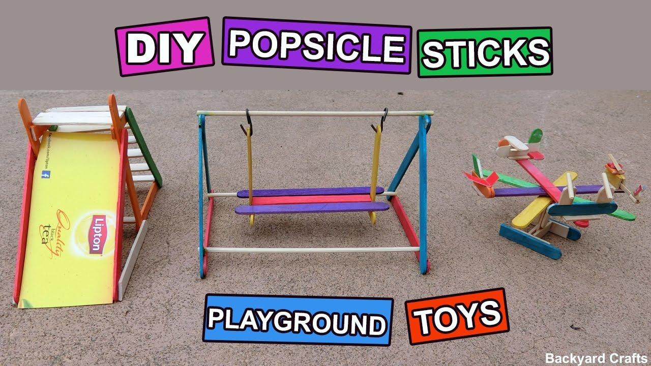 3 Easy Popsicle Sticks Playground Toys How to make DIY