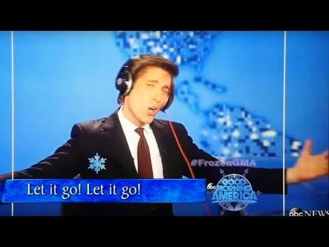 "DAVID MUIR sings ""Let It Go"" on GMA Frozen singalong."