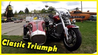Classic Triumph Costume Motorcycles Review 2018. Old Triumph Motorbikes at the Cars Show 2018