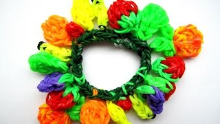 Браслет ФРУКТЫ из резинок Rainbow Loom 🍉 Как плести  браслет фрукты из резинок