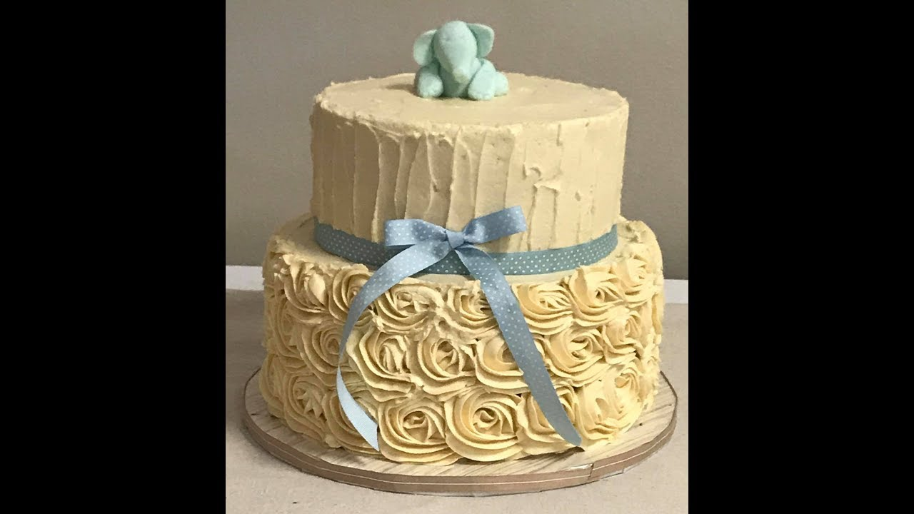 Decorate With Me: Vintage Rosette Baby Shower Cake Tutorial - YouTube