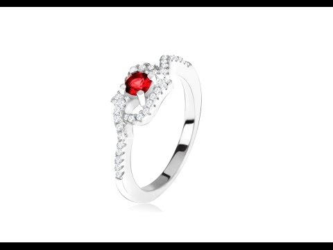 Jewellery - 925 silver ring, red rhinestones, curved zircon arms