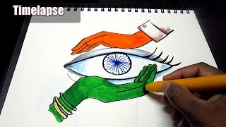 Creative drawing (Happy Independence Day) for kids\ Time lapse