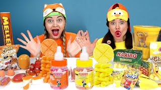 Orange Food VS Yellow Food Challenge by Yum Yum It's always interesting with us. Don't forget to LIKE and Subscribe. #CHALLENGE #youtubeyumyum.