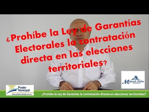 ¿Prohíbe la Ley de Garantías Electorales la contratación directa en las elecciones territoriales?