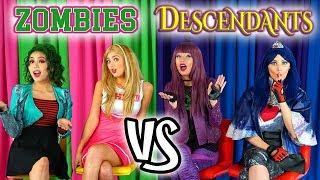 Zombies vs Descendants Catchphrase Challenge. Addison and Eliza vs Mal and Evie Dress Up.