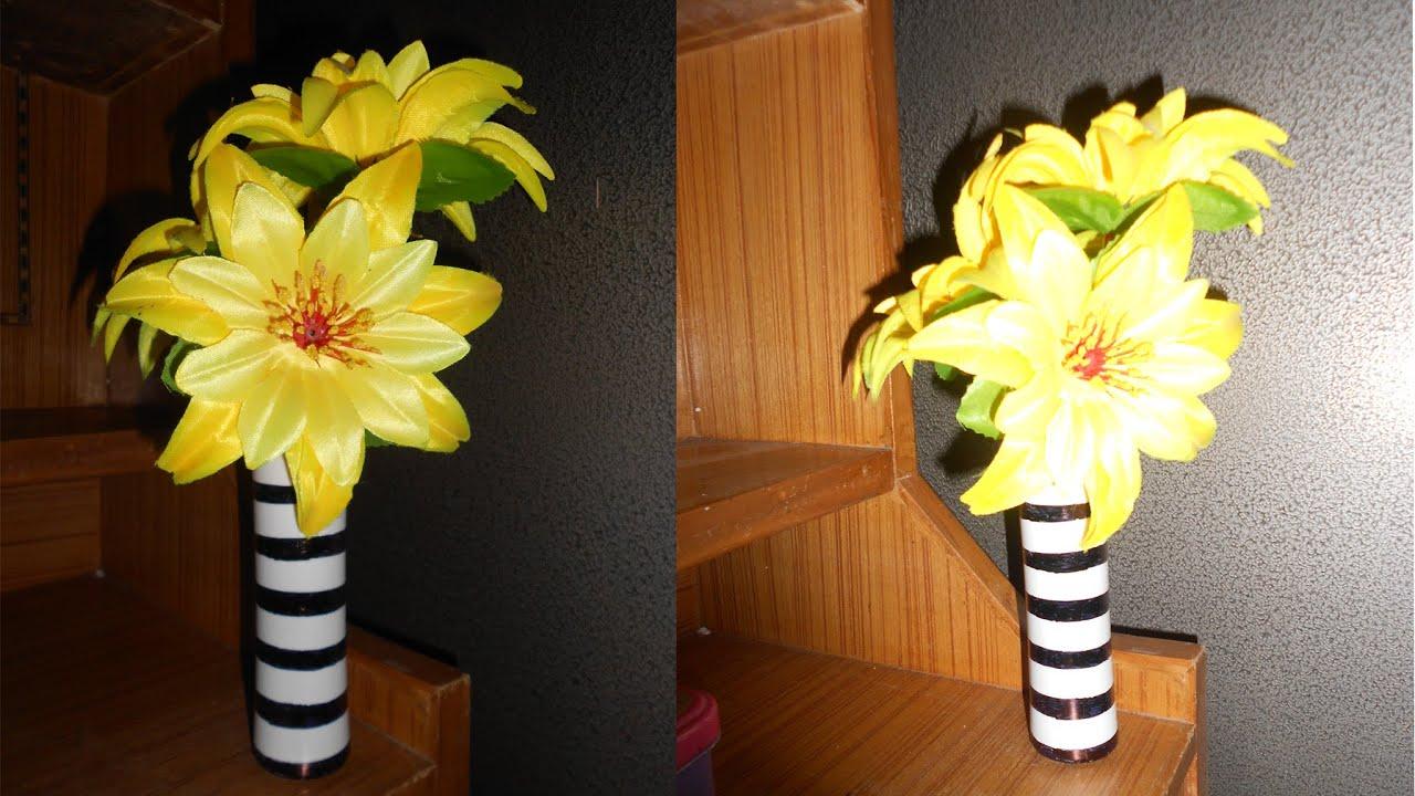 diy flower vase recycle empty powder bottle niya kumar - Flower Vase