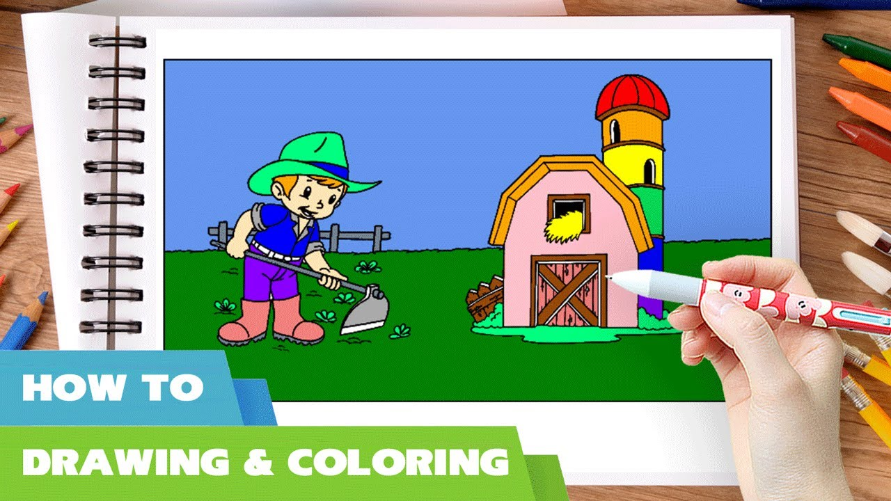 Coloring book jobs - Farmer Coloring Pages L How To Draw Farmer Draw Farm Colouring Book L Learn Colors Via Az Jobs List
