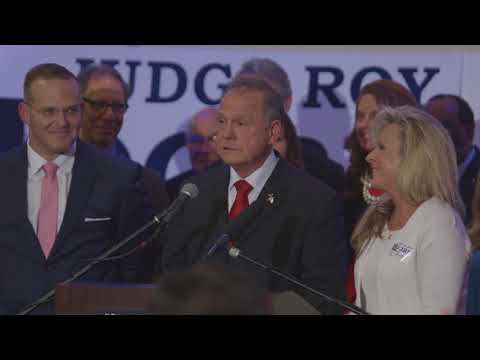 Roy Moore refused to answer questions this afternoon at a press conference in Birmingham