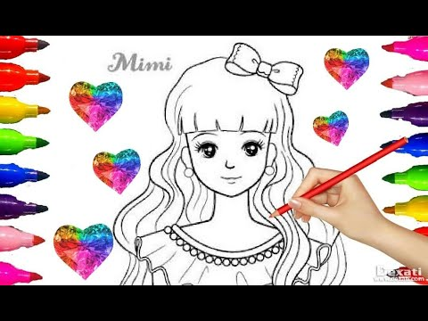 BARBIE DOLL MIMI| Coloring pages| Drawing| Painting| Colored Markers| Crystal GEMS Sticker| kids art