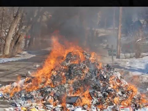 Garbage truck fire, in Plymouth Minnesota, dumps its load