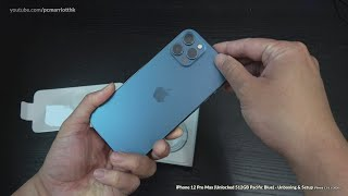 iPhone 12 Pro Max (Unlocked 512GB Pacific Blue) - Unboxing & Setup [4K]